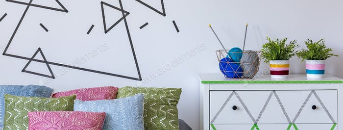 Bedroom decorated with self-adhesive tapes