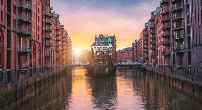 Hamburg city old port, Germany, Europe. Historical famous warehouse district with water castle