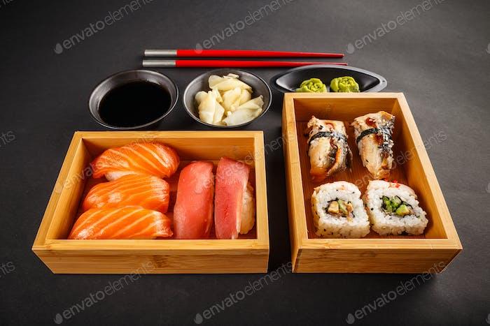 Sushi set, sushi rolls