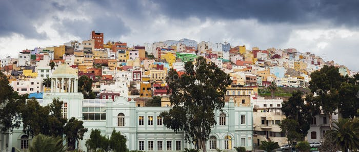 Colorful architecture of Barrio San Juan in Las Palmas
