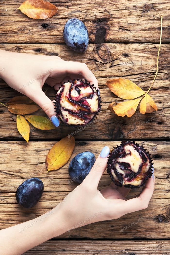 rustic cupcake with plum