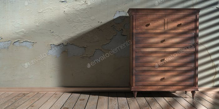 Drawer chest wooden classic style, house room interior background. 3d illustration