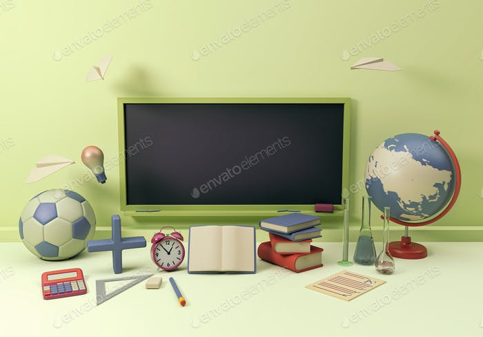 3D Illustration. School supplies and items. Back to school.