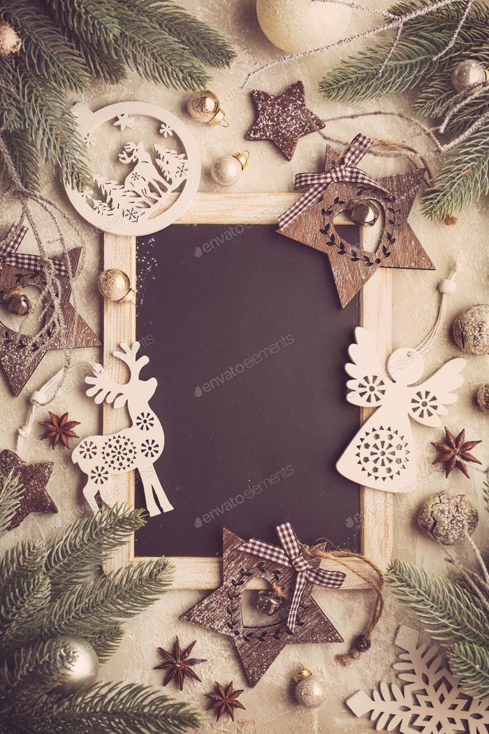 Christmas holidays background with Chalk Board