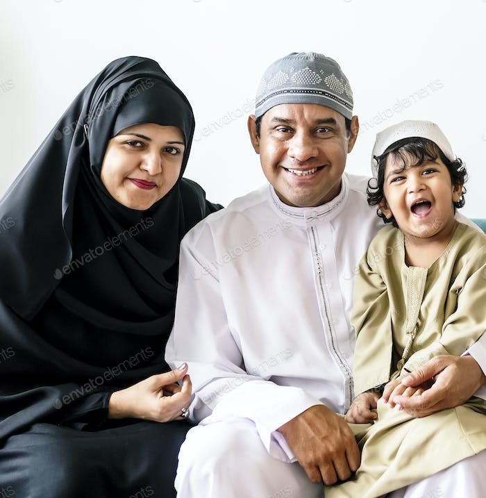 Portrait of a Muslim family