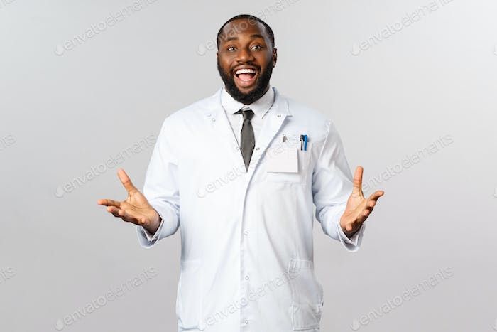 Happy african american doctor at clinic or hospital welcoming patient, telling good news to family