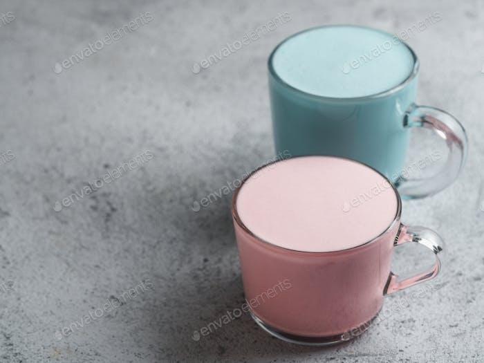 pink beetroot and blue spirulina latte