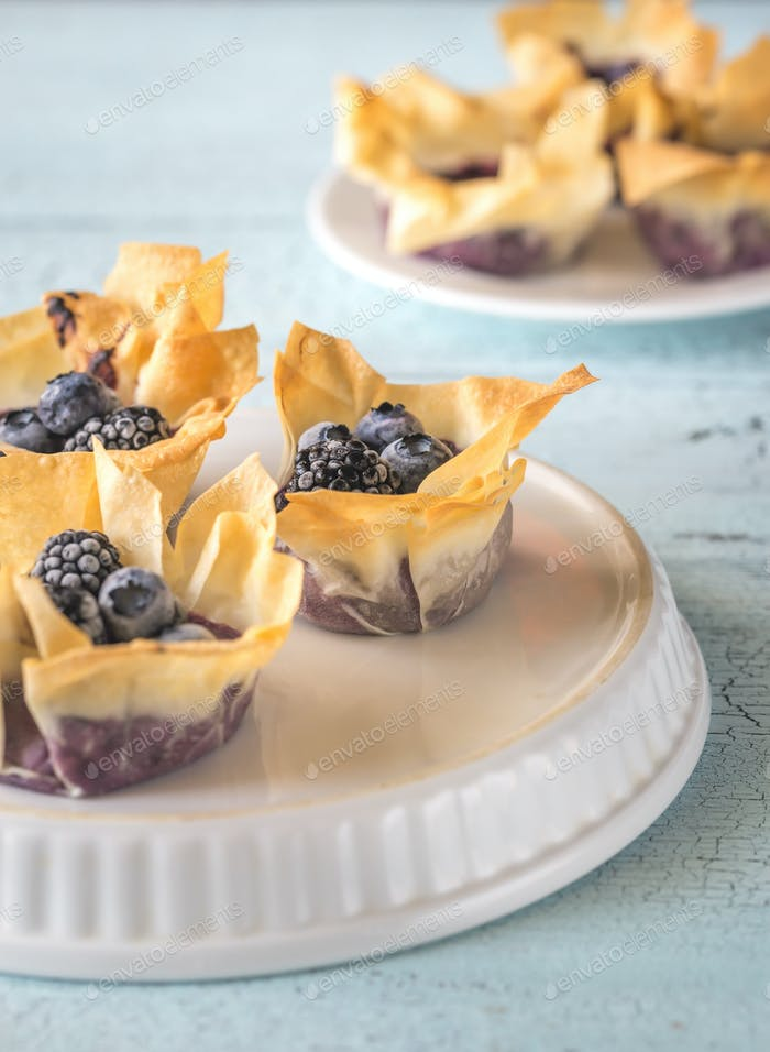 Filo cupcakes with blueberry cream cheese
