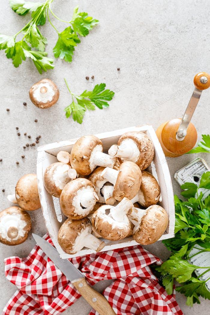 Rohe Pilze Champignons auf weißem Hintergrund, Kochen frische Champignons