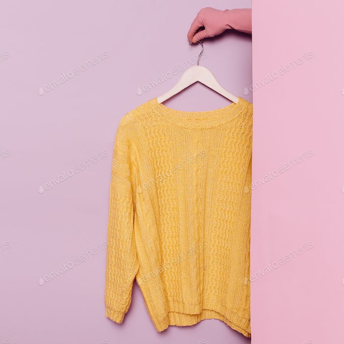 Stylish clothes. Yellow sweater. Spring Autumn. wardrobe ideas t