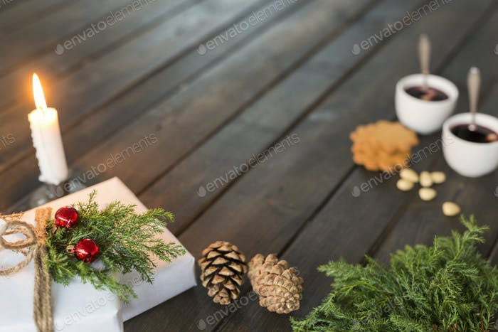 Christmas gifts on wooden table