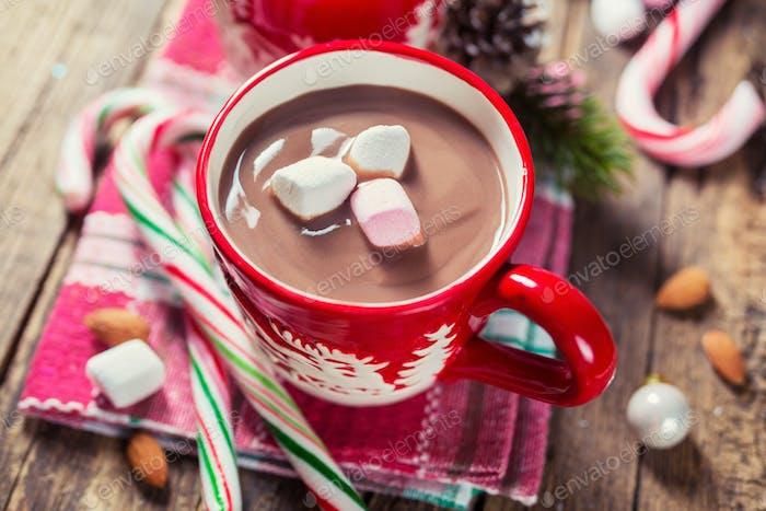 Red mug of hot chocolate