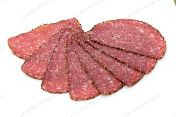 Thumbnail for Salami slices isolated on the white background.
