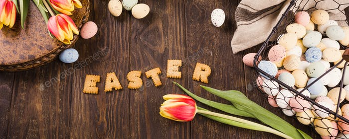 Happy Easter background, Lettering from cookies,
