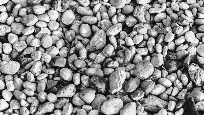 Stones and pebbles negative color