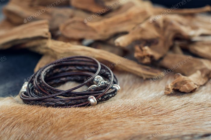 Close-up of a leather fashion bracelet for men