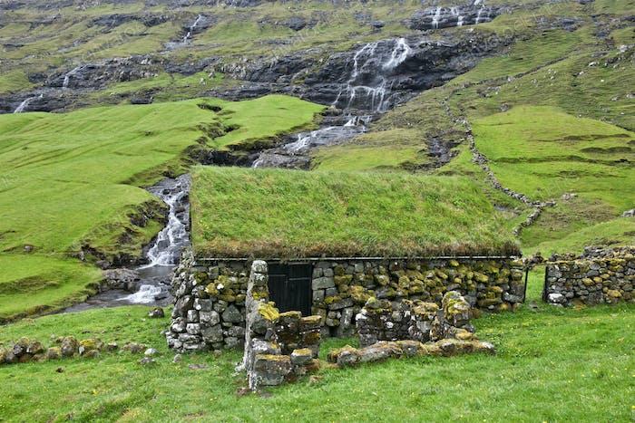 Old stone house in Faroe Islands
