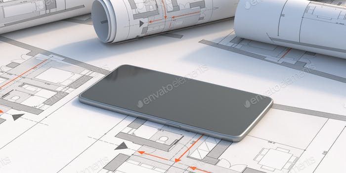 Smartphone on blueprint background. 3d illustration