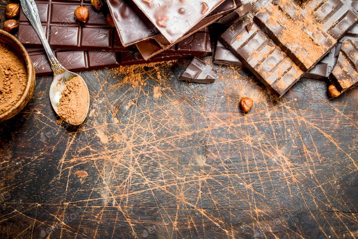 Cocoa powder with chocolate.