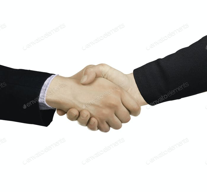 Businessmen shaking hands isolated