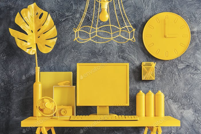 All yellow workspace concept