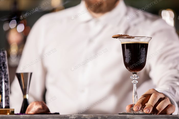 Bartenderpresenting coffe cocktail in lounge bar