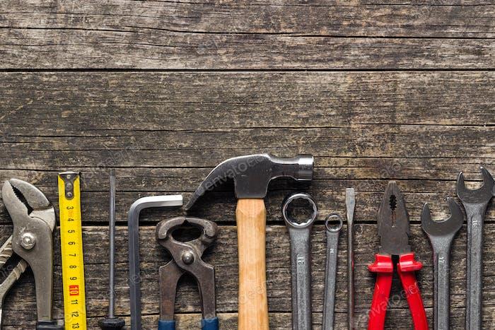 Set von Werkzeugen. Handwerkzeuge für Handwerker