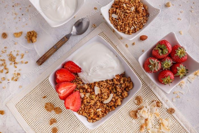 Homemade granola with yogurt