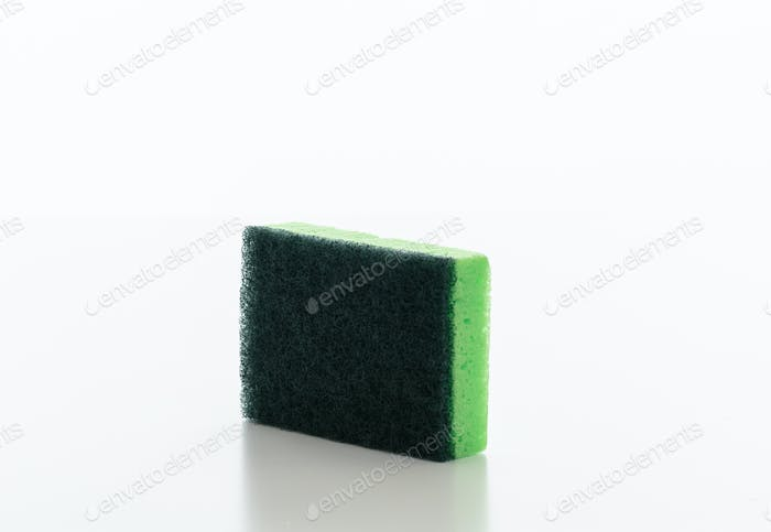 Cleaning sponge isolated against white background.