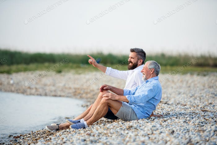 Senior father and mature son sitting by the lake. Copy space