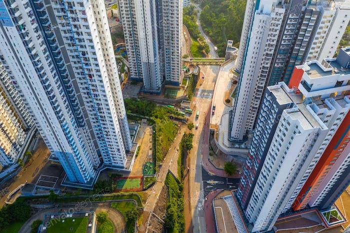 Choi Hung, Hong Kong 25 April 2019: Top down view of Hong Kong building
