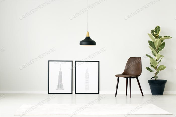 Posters in simple living room