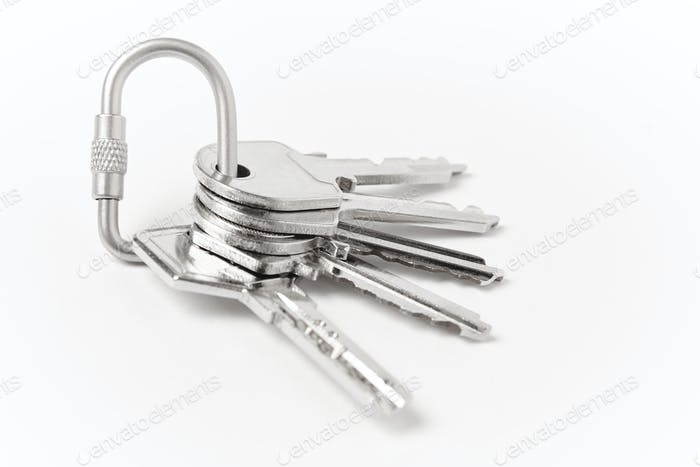 Key ring with two keys over white background. Rent, buy