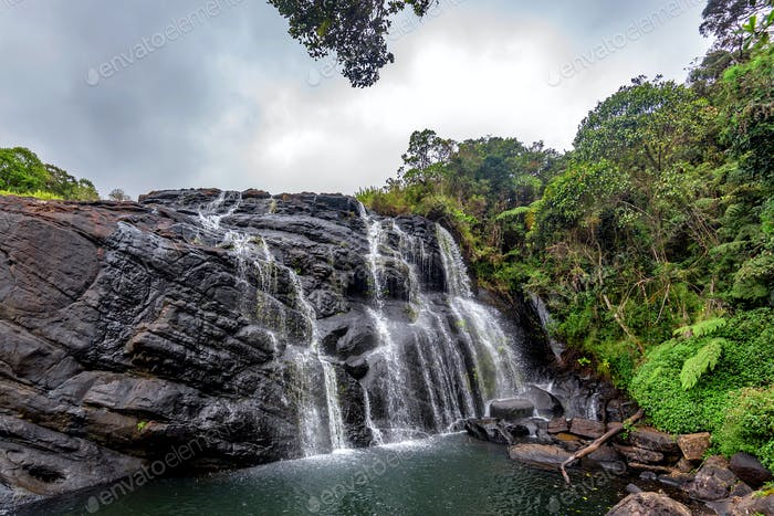 Scenic tropical waterfall in Sri Lanka