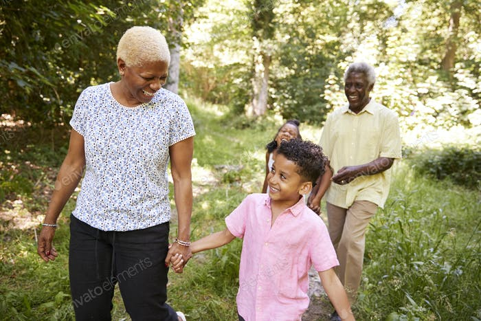 Black senior couple walking in forest with grandchildren