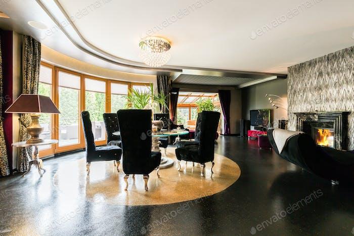 Modern villa interior with sparkle floor