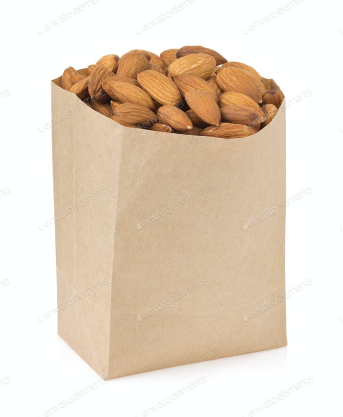 nuts almond on white