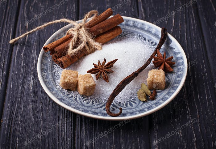 Winter spices cinnamon, anise, cardamom, vanilla