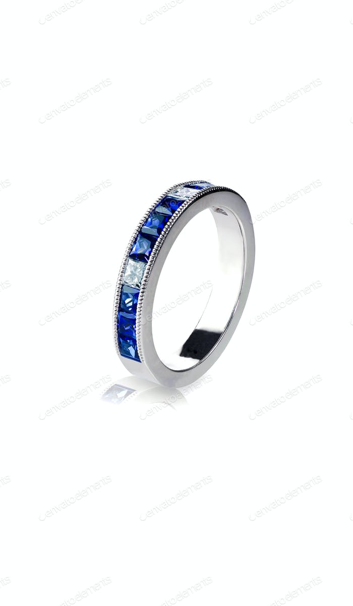 Blue diamond and Gemstone anniversary wedding Ring