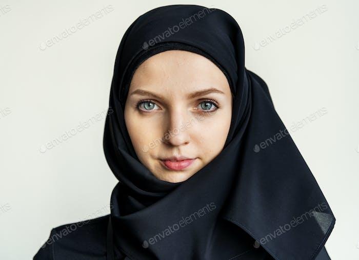 Islamic woman portrait looking at camera