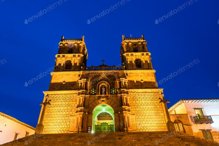 Barichara Cathedral at the Blue Hour