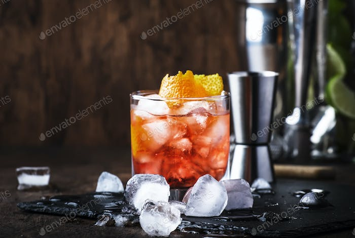 Red cocktail with dry vermouth