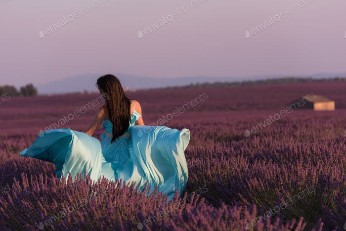 woman in lavender flower field