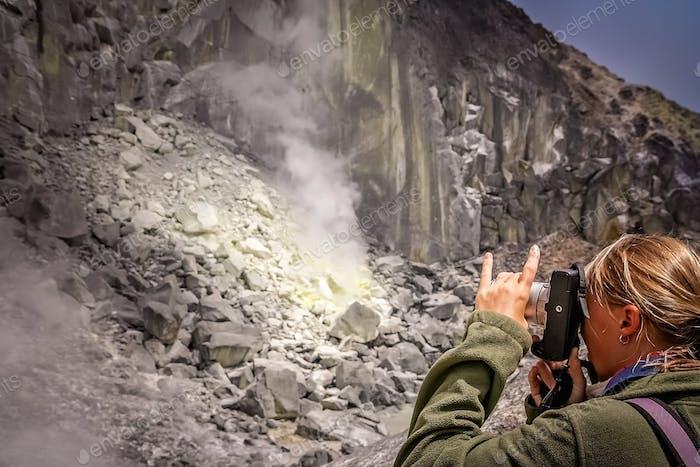 Fotografieren Krater des Vulkans Gunung Sibayak