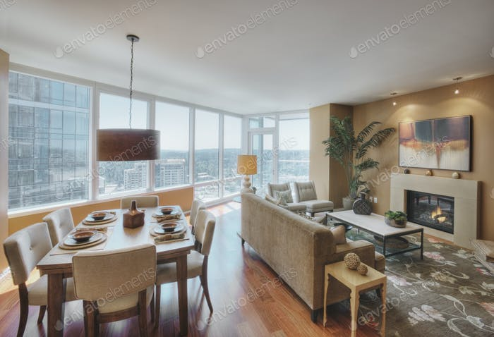 Living room and dining room in luxury highrise apartment