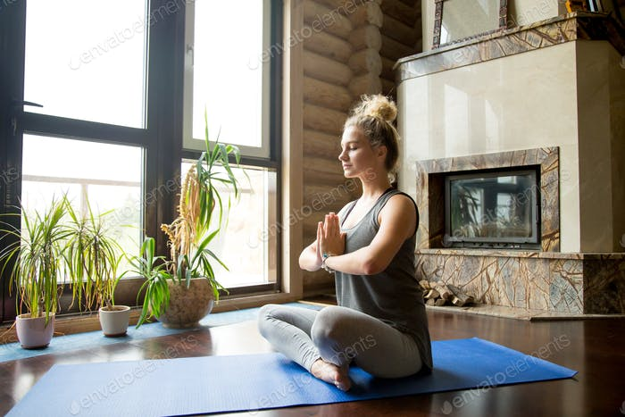 Yoga at home: meditation session