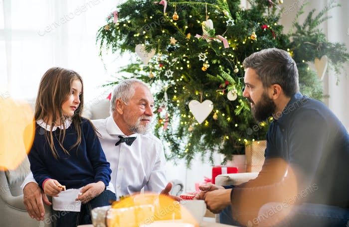 A small girl with father and grandfather sitting on a sofa at Christmas time, talking.
