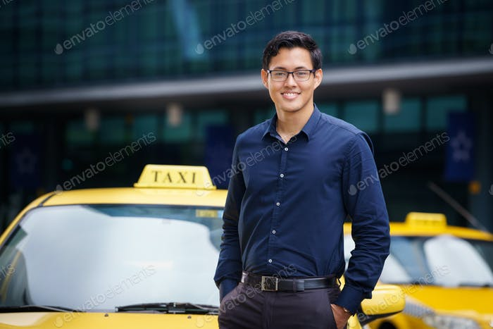 Portrait Taxi Driver Smile Car Driving Happy