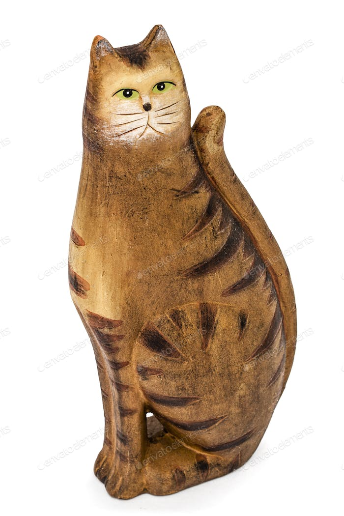 Ceramic figurine of a cat, isolated on white background