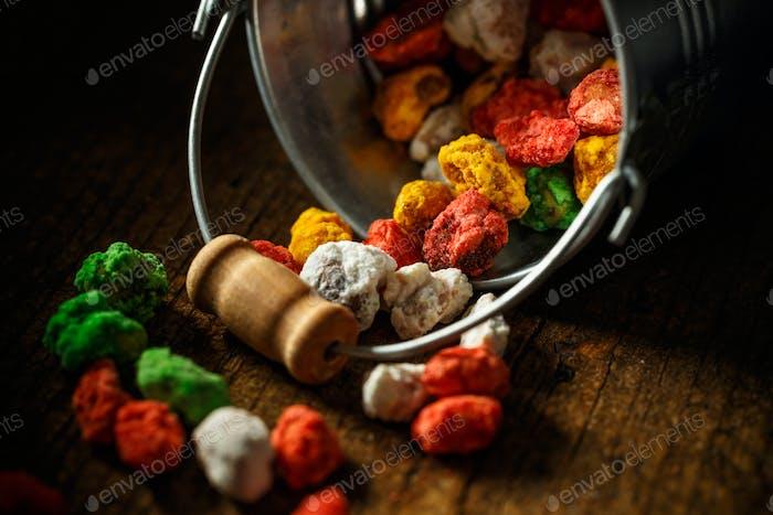 Hazelnut in colorful sugar